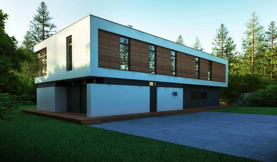 Проекты домов с плоской крышей одно и двухэтажных, схемы и фото