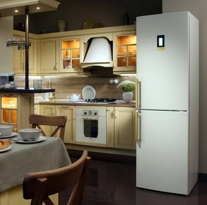 Холодильник на кухне — как его разместить? обзор самых эффективных вариантов (80 фото)