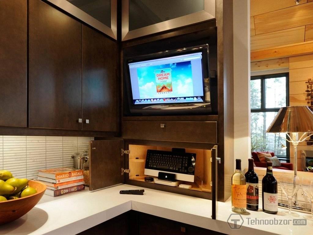 Телевизор на кухне – идеи и правила размещения, советы по выбору (фото)