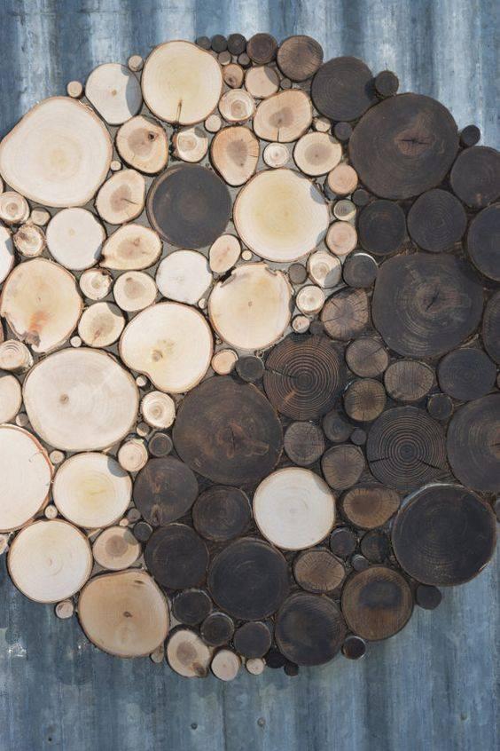 Спилы дерева в интерьере