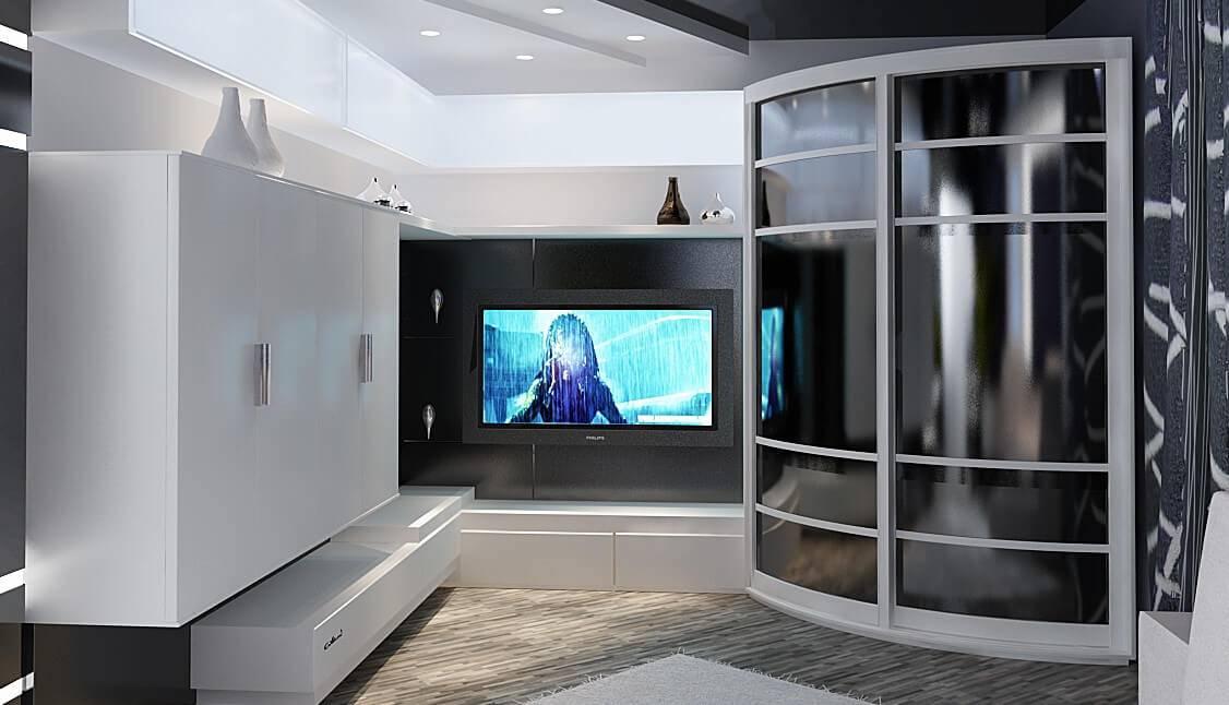 Стенка под телевизор в гостиную: фото примеры интерьера