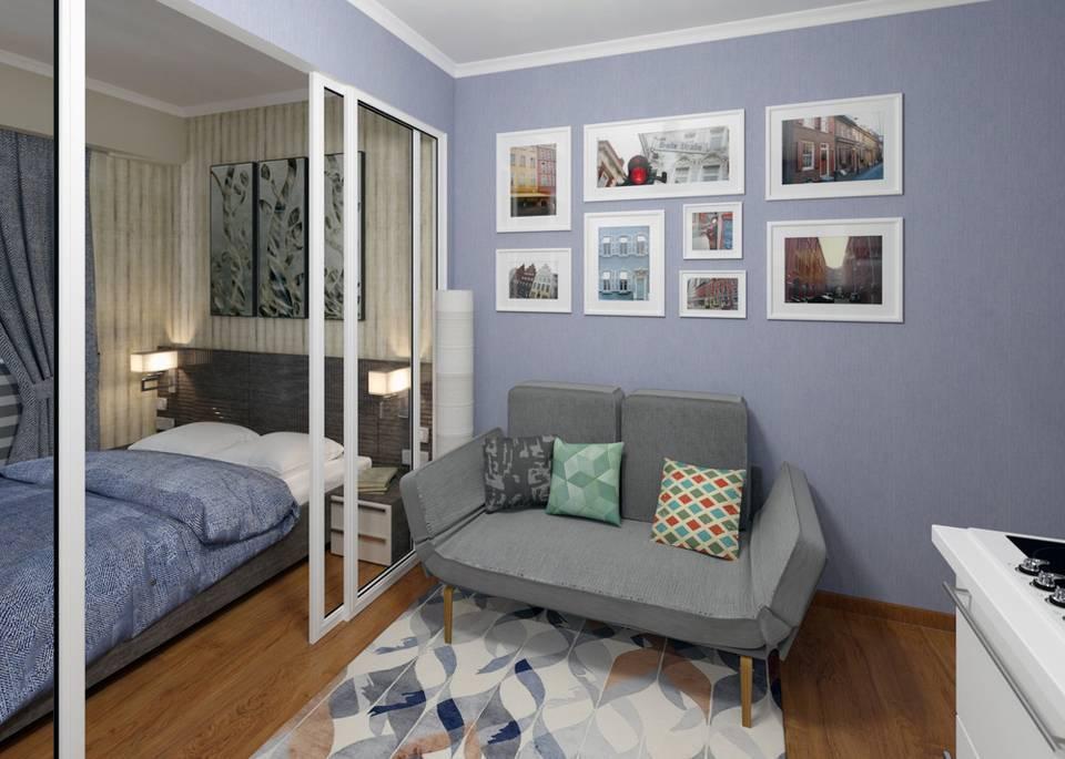 Дизайн интерьера для однокомнатной квартиры: как разделить одну комнату на две зоны, варианты проектов для квартир 30 и 40 кв м, дизайн квартиры-студии и комнаты для родителей и ребенка с фото