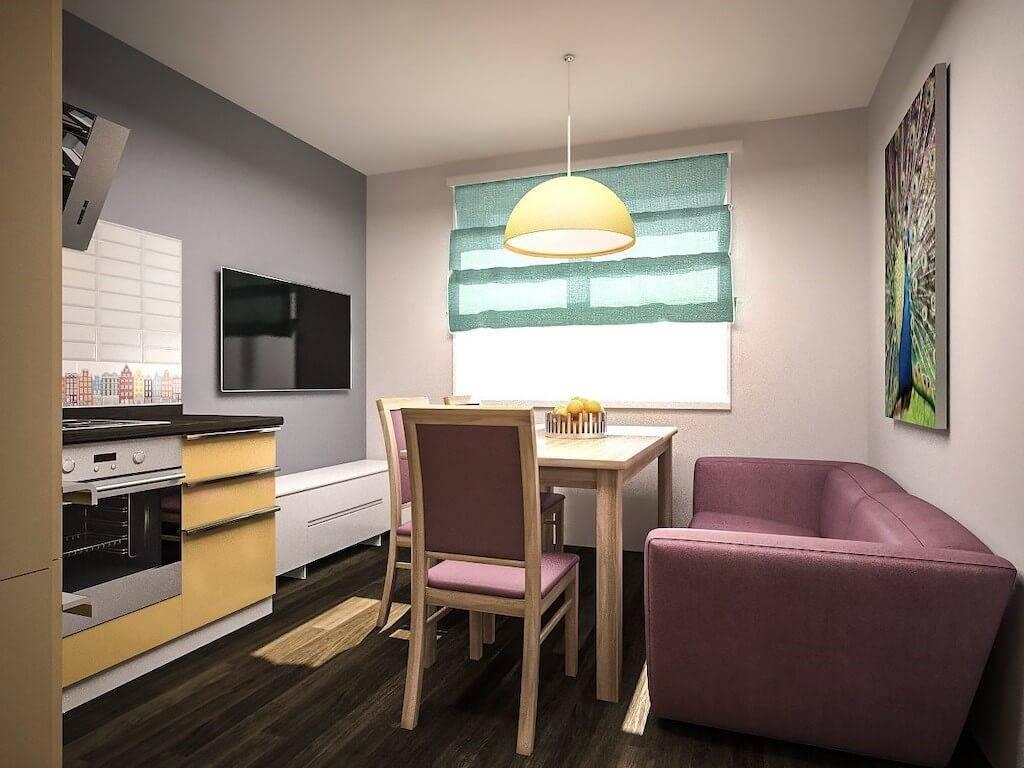Дизайн кухни с выходом на балкон (25 фото интерьеров)