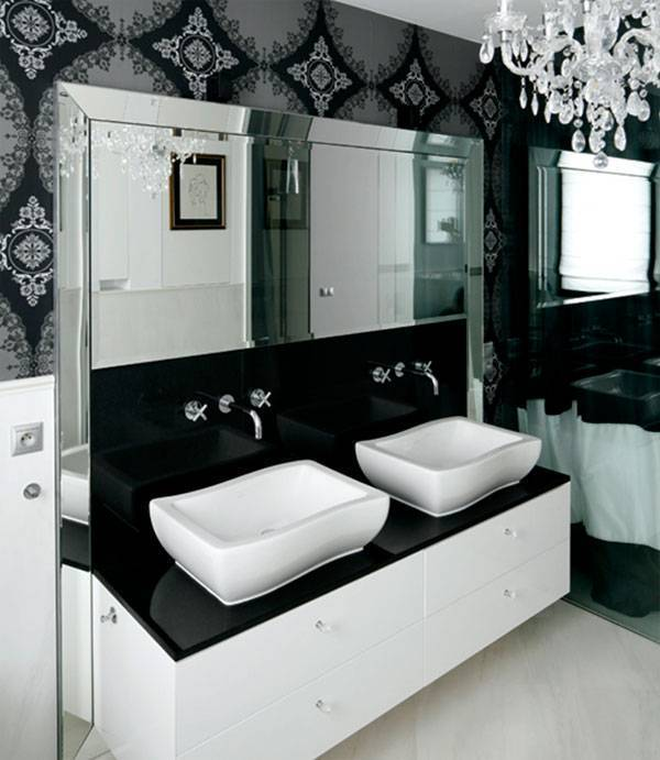 Дизайн черно-белой ванной комнаты (40 фото): сочетание с красным в интерьере, варианты в черном цвете, ванна в темных тонах в стиле лофт