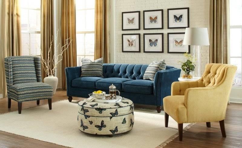 Синий диван в интерьере гостиной комнаты (50 фото)