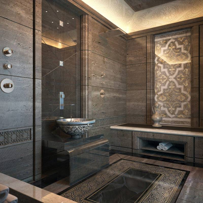 Дизайн роскошной ванной комнаты в восточном стиле