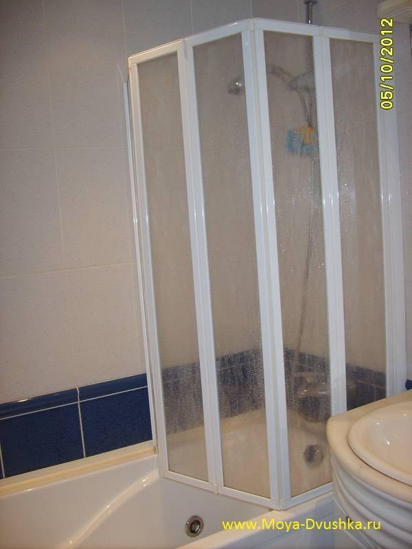 Ширма для ванной раздвижная из стекла