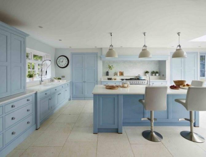 Голубые кухни: выбор гарнитура, сочетание цветов и примеры интерьера