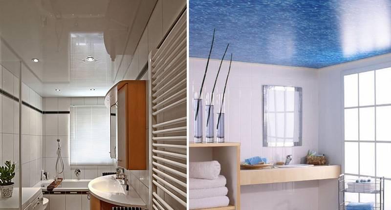 Дизайн потолка в ванной комнате - фото идей оформления