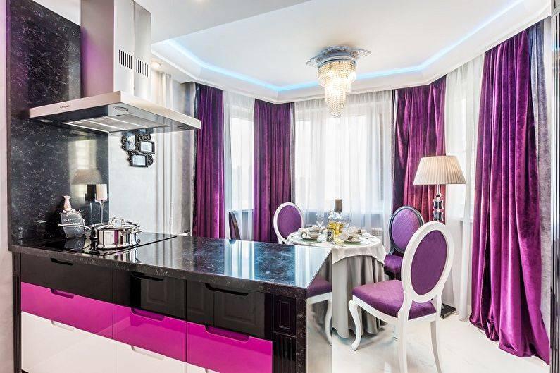 Создание интерьера фиолетовой кухни