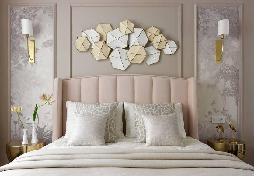 Красивое и современное оформление стен в спальне