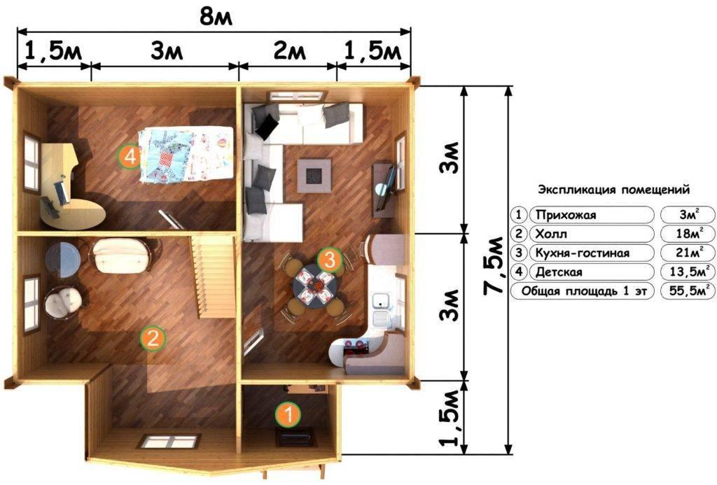 Проекты домов 6 на 8 метров, готовые планировки 6х8 м +75 фото