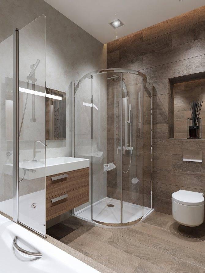 Дизайн ванной комнаты с душевой кабиной, с ванной