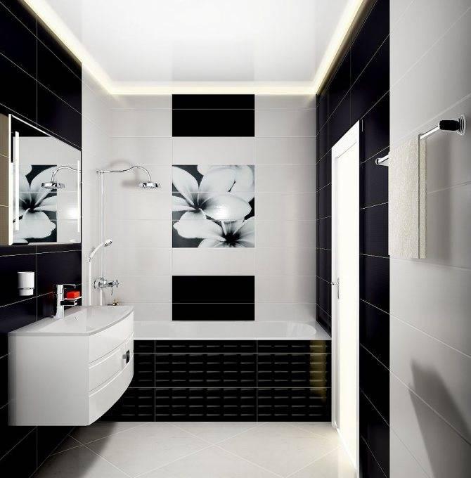 75 вариантов дизайна ванной комнаты в черно-белых тонах