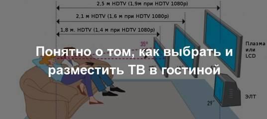 На какую высоту вешать телевизор на стену в спальне, гостиной, зале и кухне