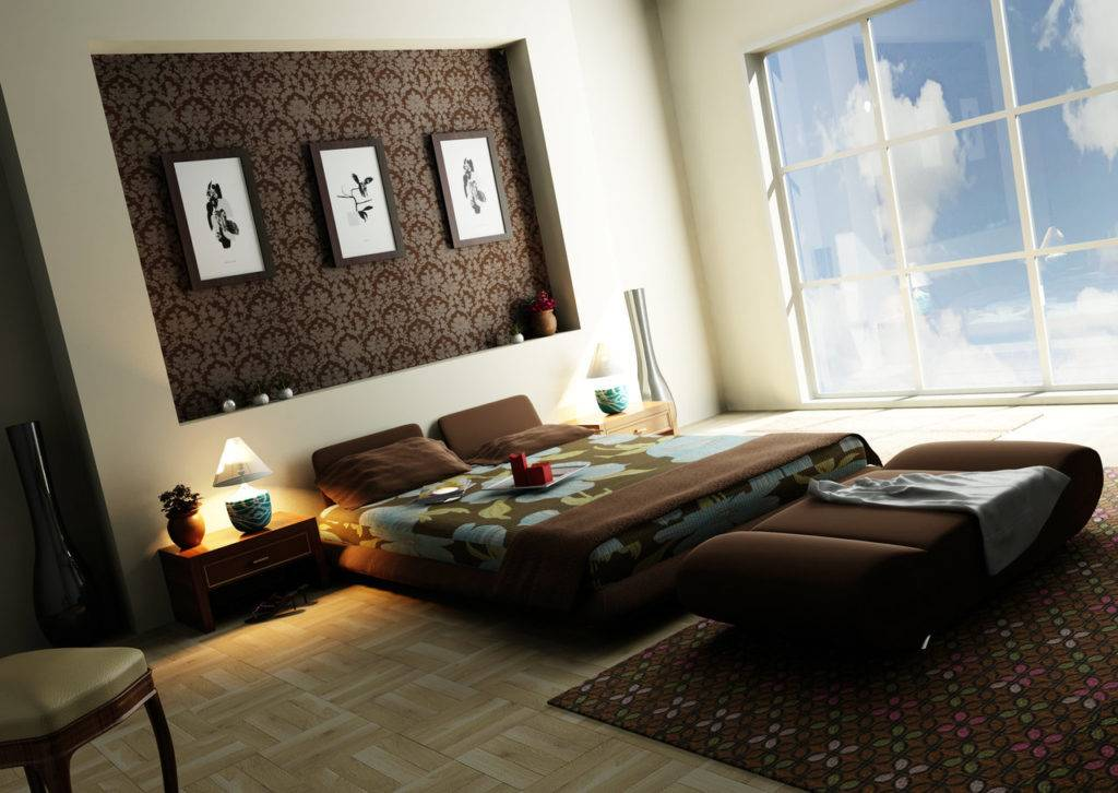 Спальня в коричневых тонах (70 фото): шторы и обои шоколадного цвета в дизайне интерьера, бело- и бежево-коричневый цвета, темно-коричневая кровать и другая мебель