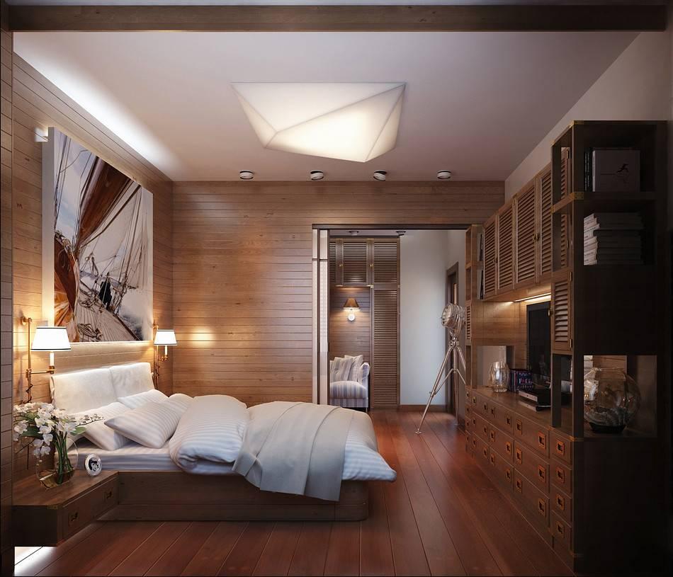 Отделка спальни (63 фото): отделка стен деревом и вагонкой, кирпичные стены из декоративного камня и плитка в интерьере спален в квартире, другие варианты
