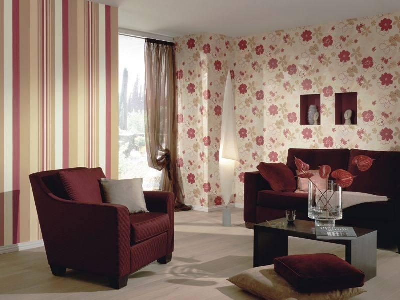 Обои в зал комбинированные дизайн (112 фото): компаньоны примеры, как подобрать двух цветов