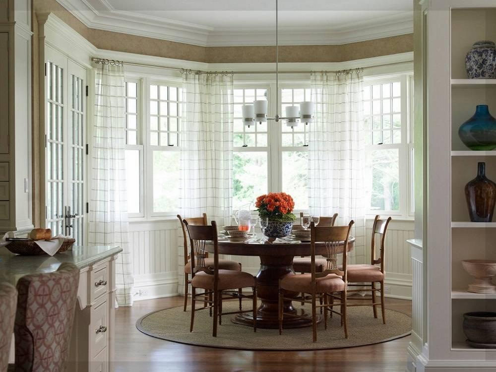 Как оформить эркерное окно на кухне? 74 фото дизайн штор на эркерную кухню, тюль на большие окна и другие нюансы оформления