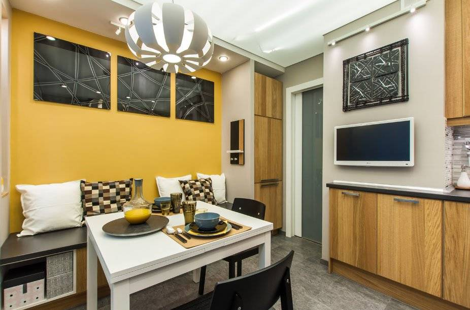 Кухня 13 кв. м: идеи дизайна и интерьера, фото, с диваном, эркером или балконом, примеры планировки