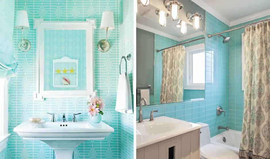 Ванная комната бирюзовые стены