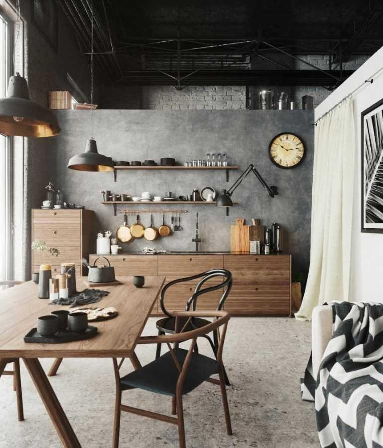 Как заставить маленькую кухню выглядеть больше за счёт стиля лофт?