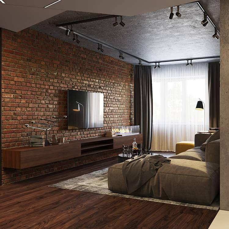 Гостиная в стиле лофт (117 фото): дизайн интерьера зала с камином, примеры маленькой гостиной с элементами лофта