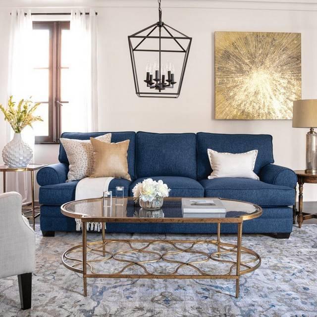 Синий диван в интерьере гостиной: 40 фото интерьеров в городской квартире