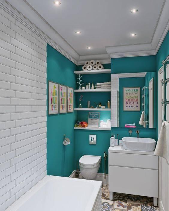 Дизайн ванной комнаты в бирюзовом цвете