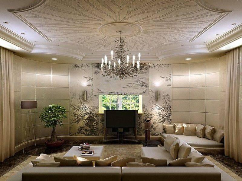 Дизайн потолков в гостиной, фото различных типов потолков