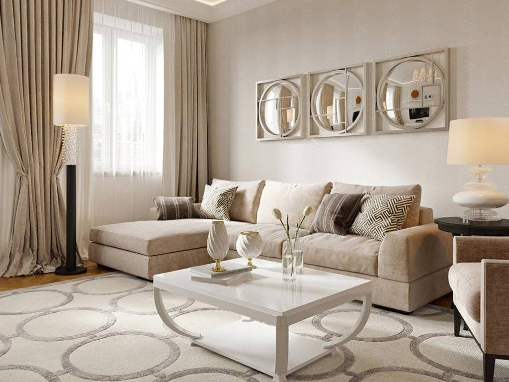 Бежевые шторы в интерьере гостиной и спальни: правила выбора и сочетания