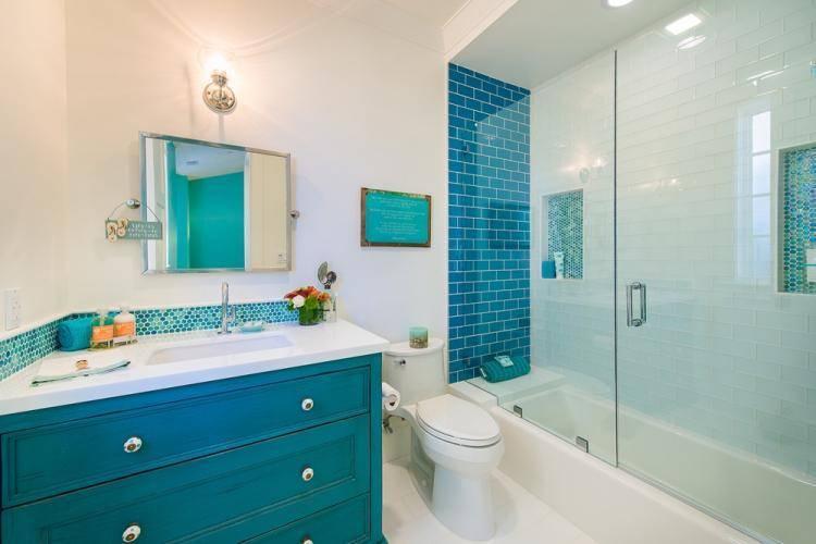 Ванная в бирюзовом цвете - 70 лучших фото современного интерьера