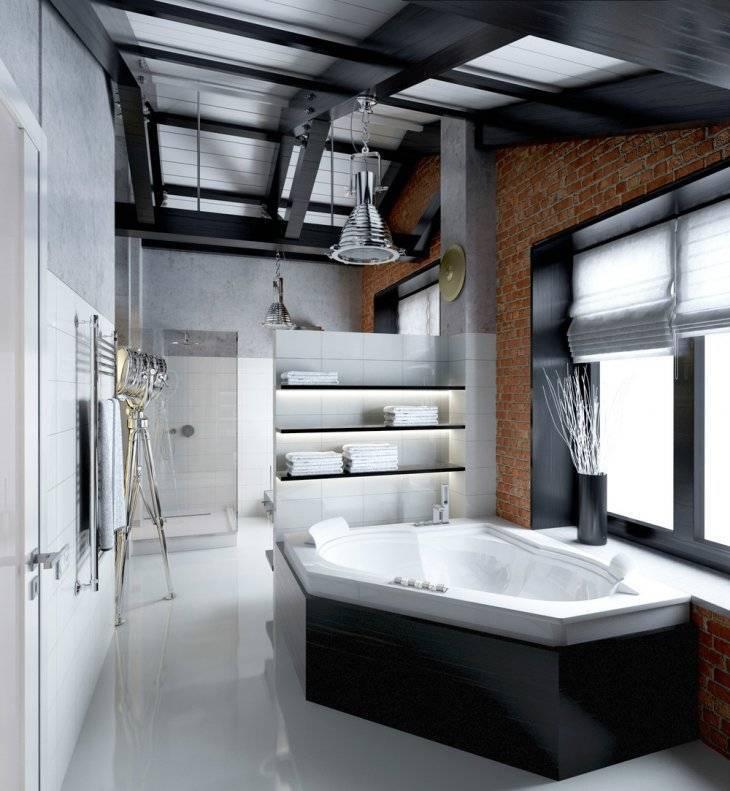 Ванная в стиле лофт — стильные проекты и современные тенденции, стильные сочетания и советы по выбору материалов (120 фото)