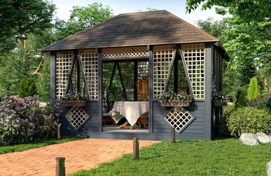 Красивые беседки из дерева: 95 фото и видео применения постройки в ландшафтном дизайне