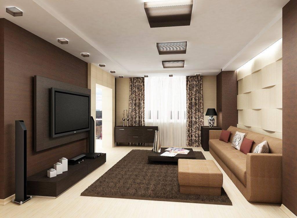 Оригинальные идеи дизайна зала площадью 18 кв. м