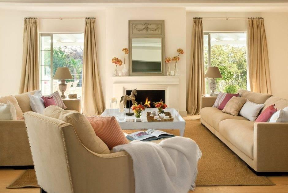 Бежевые шторы в интерьере гостиной: 50 фото оформления в зале