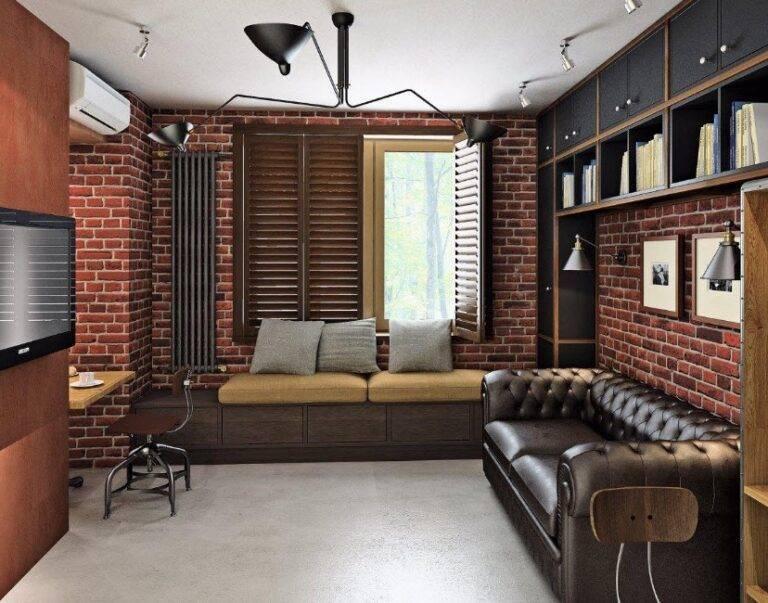 Кухня-гостиная в стиле лофт (48 фото): дизайн интерьера совмещенного помещения 22 кв.метра
