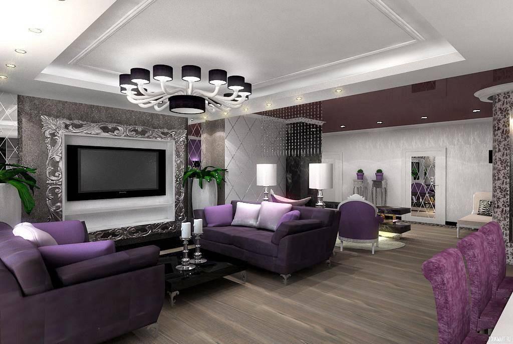 Серый диван в интерьере гостиной
