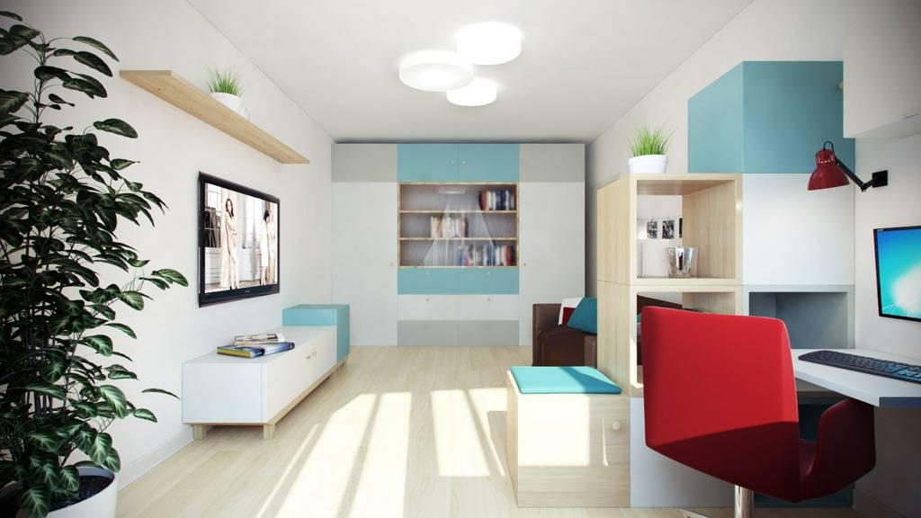 Гостиная с рабочим местом (83 фото): дизайн рабочей зоны и варианты зонирования комнаты