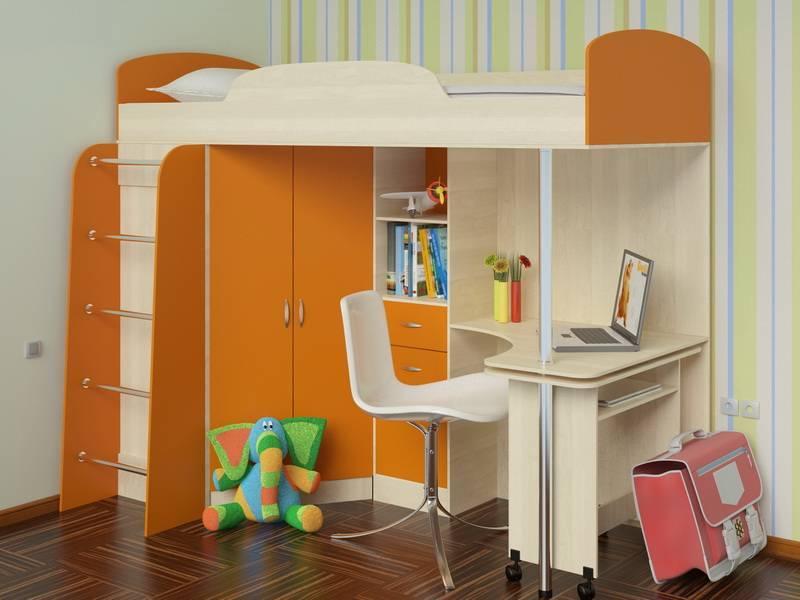 Кровать чердак с рабочей зоной: виды столов и особенности спальных мест