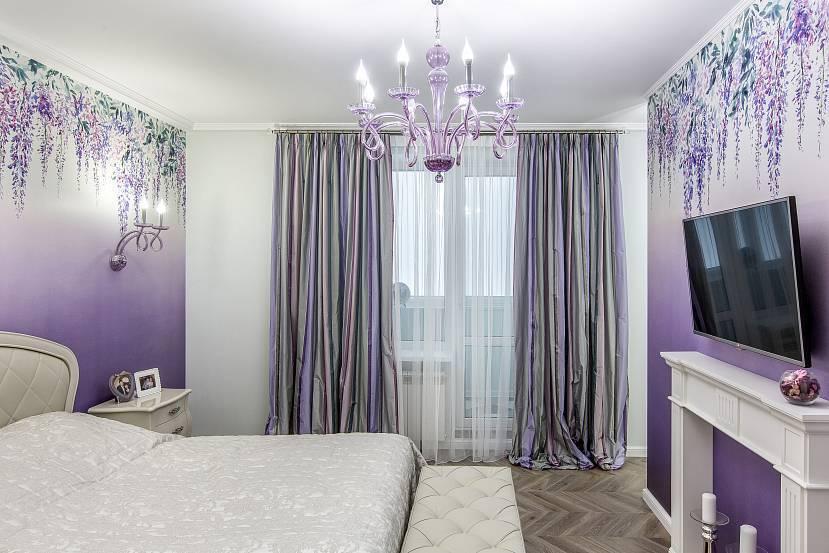 Фиолетовые шторы — сочетание в интерьере со вкусом (50 фото)