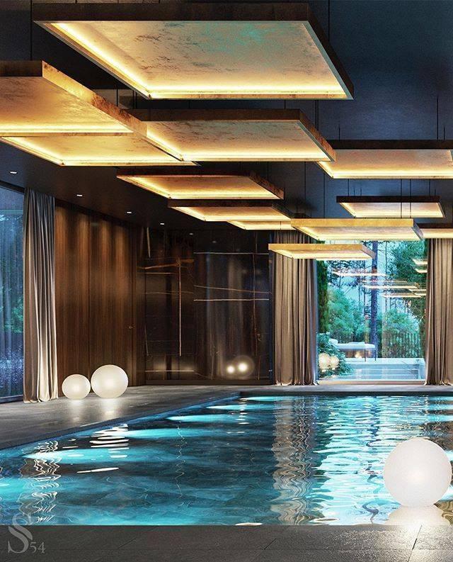 Бассейн в частном доме: дизайн интерьера и экстерьера, 30 идей на фото