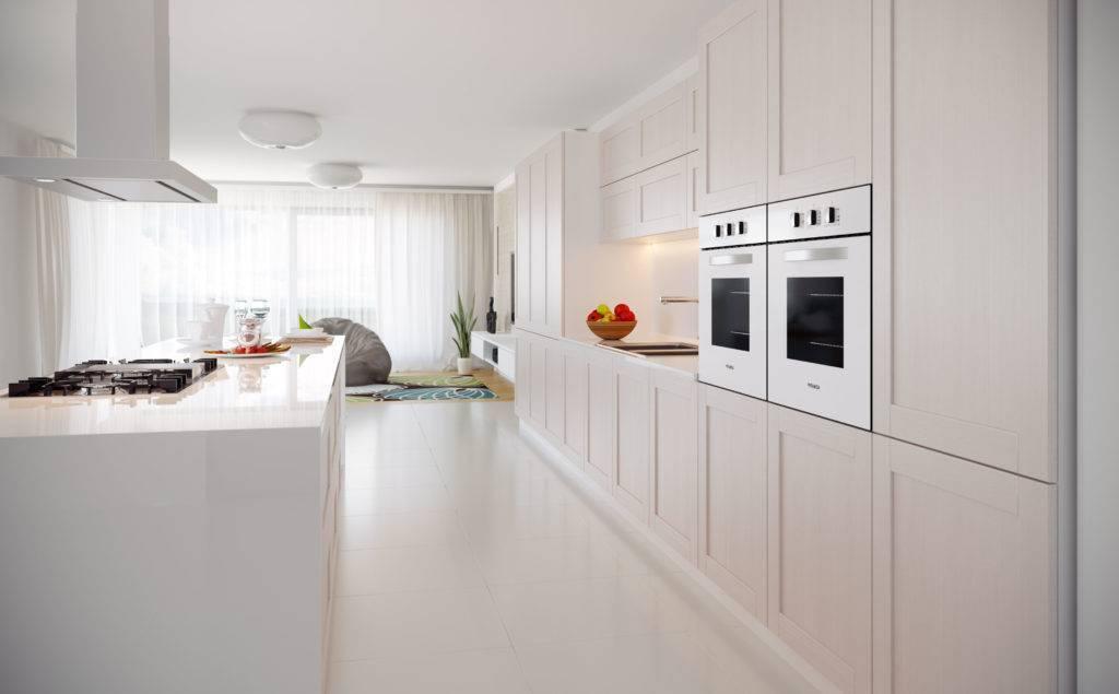 Белая глянцевая кухня: 80+ фото примеров, плюсы и минусы
