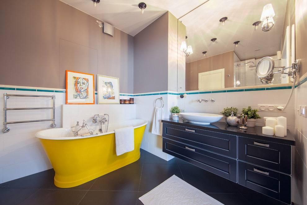 Дизайн ванной комнаты с покрашенными стенами