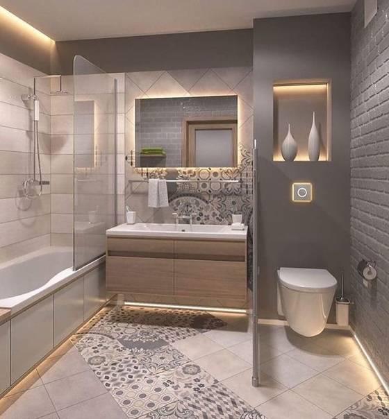 Дизайн ванной комнаты, совмещенной с туалетом (32 фото)