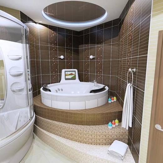 Варианты дизайна ванных комнат с угловой ванной
