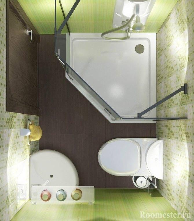 Дизайн и оснащение маленькой ванной комнаты площадью 3 кв. м.
