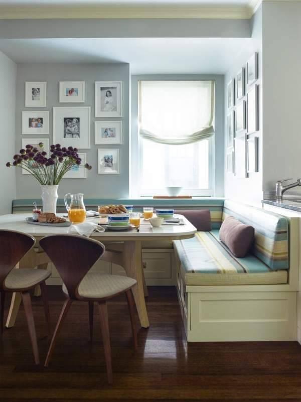 Обеденная зона на кухне (78 фото): варианты дизайна маленьких кухонь со столовой зоной, оформление стен декоративным камнем, фотообоями и другое