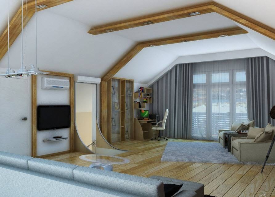 Мансардная комната, как обустроить: интерьер и дизайн