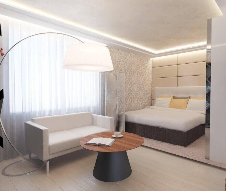 Дизайн спальни-гостиной 18 кв. м (78 фото): идеи в интерьере однокомнатной квартиры, создаем дизайн-проект по совмещению